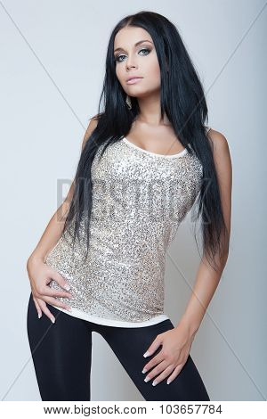Attractive Brunette Young Girl Fashion Style In Gray Shirt