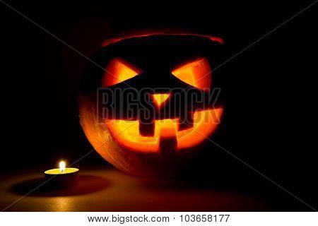 Halloween Pumpkin Jack  Lantern With Candle On Dark