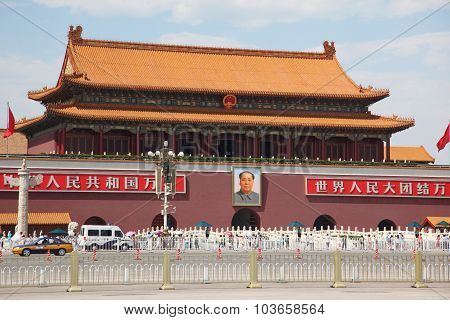 Beijing - June 11: Tienanmen Gate (the Gate Of Heavenly Peace), The Main Entrance To Forbidden City