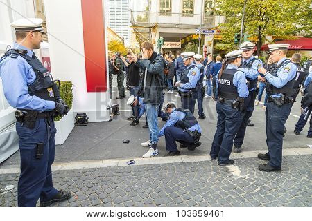 Demonstrant Is Checked By Police At 25Th Anniversary Of German Unity In Frankfurt