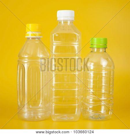 Group Of Empty Transparent Plastic Bottles