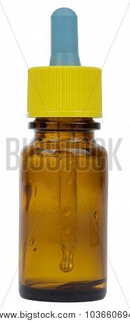 Glass bottle of nasal drops for treatment