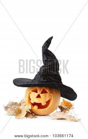 Halloween Pumpkin With Hat Isolated On A White