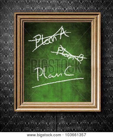 Plan A, Plan B Or Plan C Chalkboard In Old Wooden Frame
