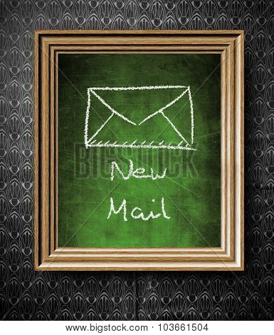 New E-mail Symbol Chalkboard In Old Wooden Frame