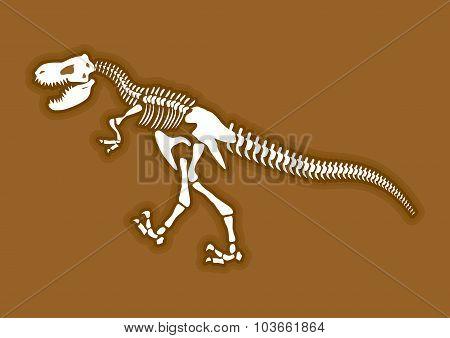 Dinosaur Skeleton. Ancient Animal Bones In Ground. Fossiltyrannosaurus. Archaeological Excavations.