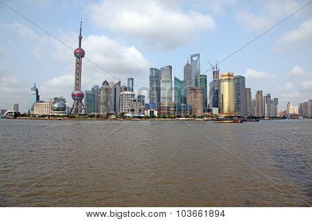 Shanghai - June 15: Shanghai Pudong Skyline View From The Bund -
