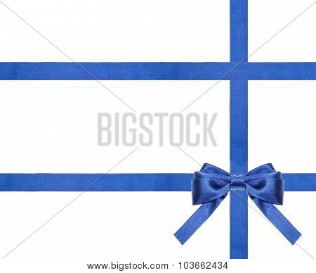 Blue Satin Bows And Ribbons Isolated - Set 27