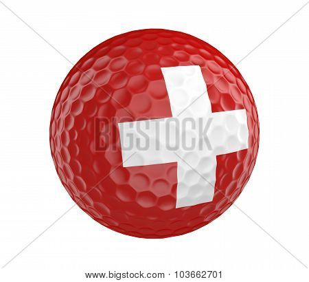 Golf ball 3D render with flag of Switzerland, isolated on white