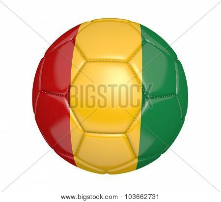 Football, also known as a soccer ball, with the national flag colors of Guinea