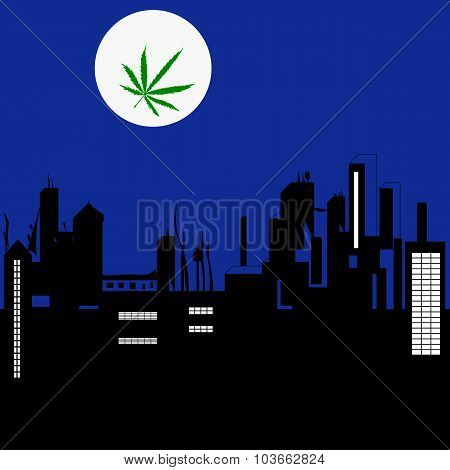 Night City Landscape And The Moon With Marijuana Lea