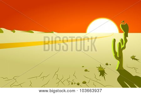 The deserted landscape with a big bird.Poster.Postcard.Background