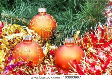 Orange Christmas Balls, Red Tinsel On Xmas Tree 4