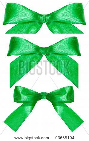 Three Green Satin Bow Knots Isolated On White