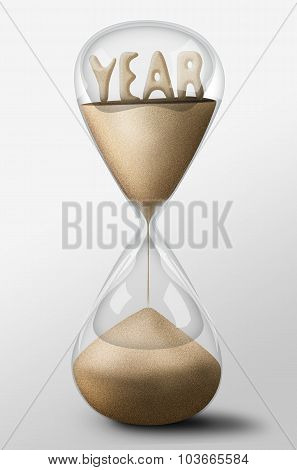 Hourglass With Year Made Of Sand. Concept Of Passing Time