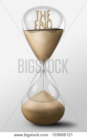 Hourglass With The End Made Of Sand. Concept Of Passing Time