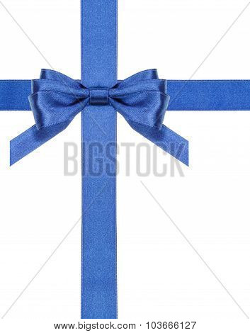 Blue Satin Bows And Ribbons Isolated - Set 3