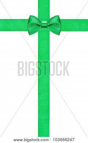 Green Bow Knot On Two Crossing Silk Strips