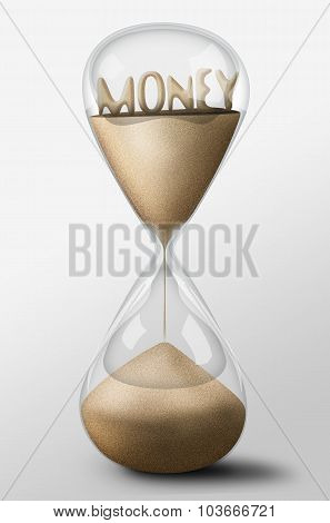 Hourglass With Money Made Of Sand. Concept Of Spending Money