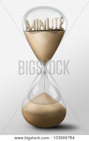 Hourglass With Minute Made Of Sand. Concept Of Time Passing