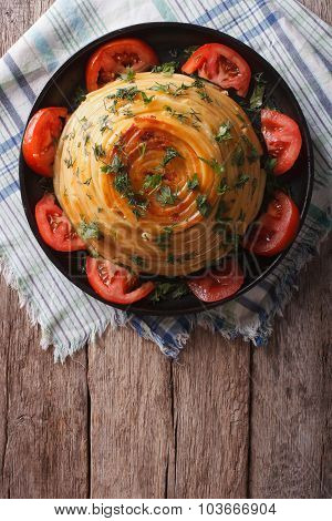 French Timbale Of Pasta With Cheese And Vegetables. Vertical Top View