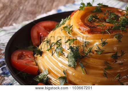 French Cuisine: Timbale Of Pasta With Cheese Close-up. Horizontal