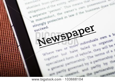Newspaper On Tablet Screen, Ebook Concept