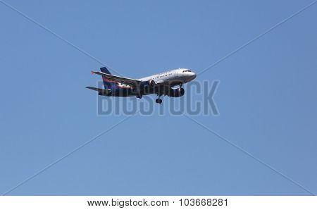 ZAGREB, CROATIA - JUNE 10: Airbus A319, registration VP-BWA of Aeroflot landing on Zagreb Airport Pleso on June 10, 2015.