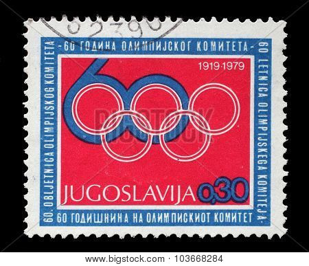 YUGOSLAVIA - CIRCA 1979: A stamp printed by Yugoslavia is dedicated to the 60th anniversary of the Olympic Committee, circa 1979.