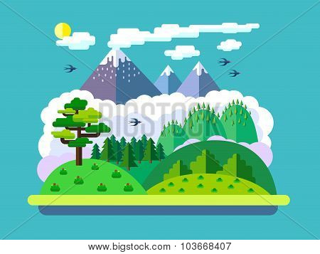 Natural Landscapes In A Flat Style
