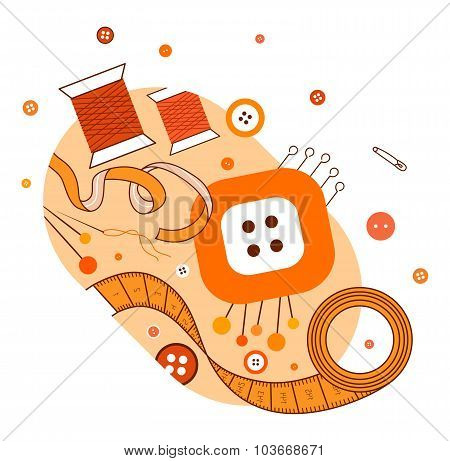 Abstract illustration with knitting and sewing accessories, orange