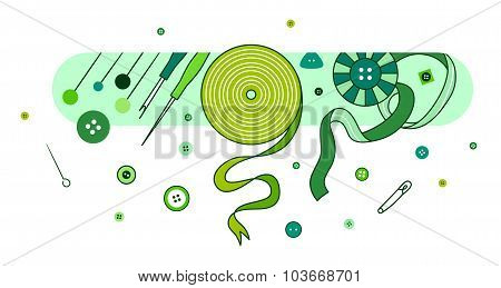 Abstract illustration with knitting and sewing accessories, green