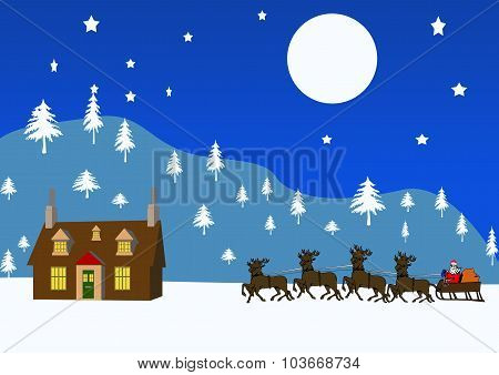 Winter Landscape With Cottage And Santa