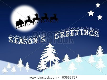 Wintry Scene With Santa And Season's Greetings Banner