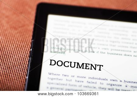 Document On Ebook, Tablet Concept