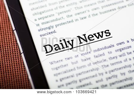 Daily News On Tablet Screen, Ebook Concept