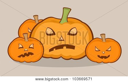 Halloween Illustration With Pumpkins, Scary Face