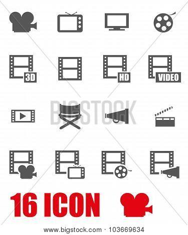 Vector Grey Movie Icon Set