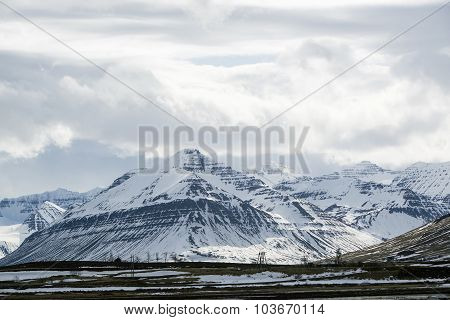 Snowy Volcano Mountain Landscape In Iceland