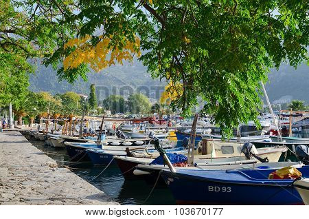 Sunny September Morning On The Promenade In Budva, Montenegro