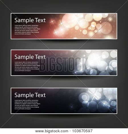 Set of Horizontal Banner / Cover Background Designs - Colors: Black, Pink, White - Christmas, New Year or Other Holiday Ad Banner Templates