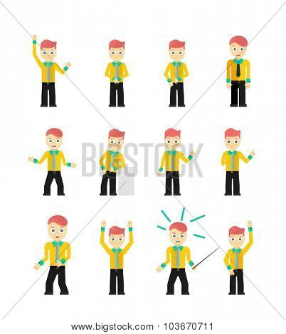 Set of cute young businessmen character poses isolated on white. illustration