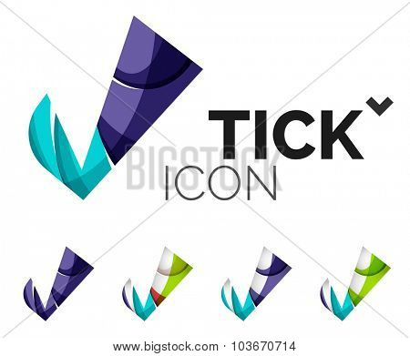 Set of abstract OK and tick icons, business logotype concepts, clean modern geometric design. Created with transparent abstract wave lines