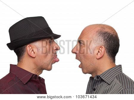Identical twins fighting
