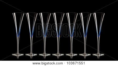 Beautiful champagne glasses in a row