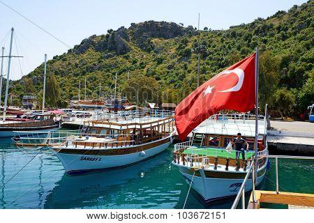 Antalya, Turkey - April 24: The Yachts In Harbor On Turkish Resort On April 24, 2014 In Antalya, Tur