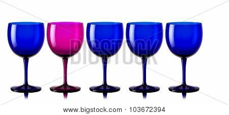 Drinking glasses in a row