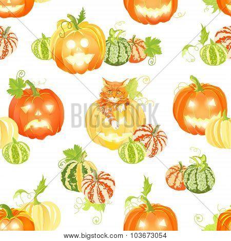 Autumn Happy Pumpkins And Cat Seamless Vector Print