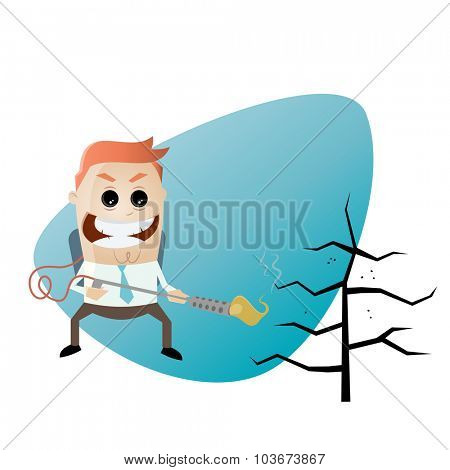 cartoon man with flamethrower and charred tree