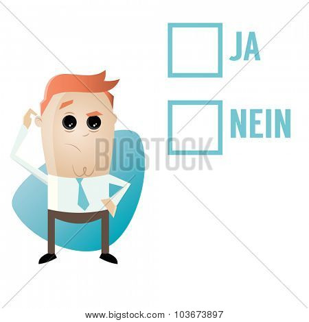 thoughtful man and checkboxes with german words meaning yes and no
